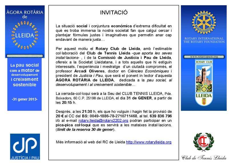 targetó INVITACIÓ Àgora Rotària de Lleida -31Gen2013- 20.01.13
