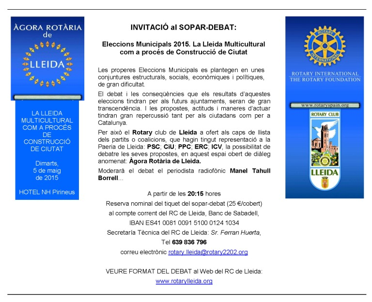 INVITACIÓ Àgora Rotària de Lleida -5 maig 2015 - Elecccions Municipals