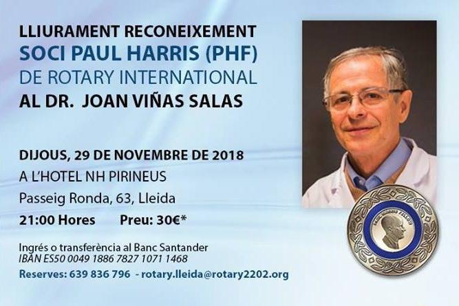 Lliurament reconeixement SOCI PAUL HARRIS (PHF) de Rotary International al Dr. Joan ViñasSalas